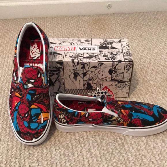 4f1e523495 Vans x Marvel Spider-Man Slip Ons M Size 9